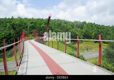Dragon's bridge, Halde Hoheward, mine heap, landscape park, Herten, Ruhr Area, North Rhine-Westphalia - Stock Photo
