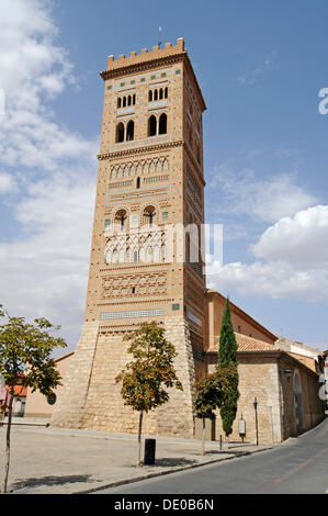 Bell tower Torre de San Martin, Mudejar architecture, UNESCO World Heritage Site, Teruel, Aragon, Spain, Europe, - Stock Photo