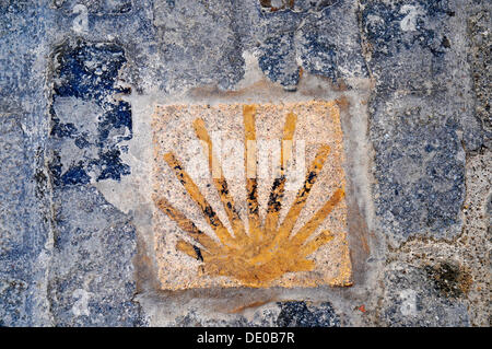 Scallop, Camino de Santiago, Way of St. James, pilgrimage route, marking, pavement, Montblanc, Tarragona province, - Stock Photo