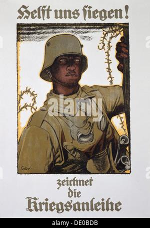 'Helft uns siegen! - zeichnet die Kriegsanleihe', German propaganda poster, World War I, 1917. 'Help us triumph! - Stock Photo