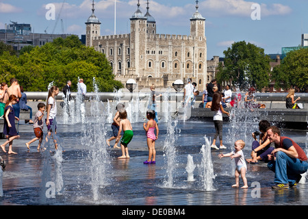 Children Playing In the Fountains near The Tower of London, London, England - Stock Photo