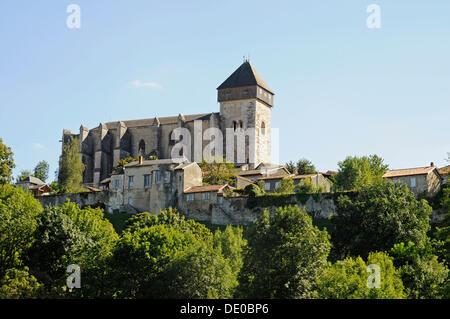 Notre Dame Cathedral, Way of St. James, Camino de Santiago trail, Saint-Bertrand-de-Comminges, Midi-Pyrénées, Pyrenees - Stock Photo