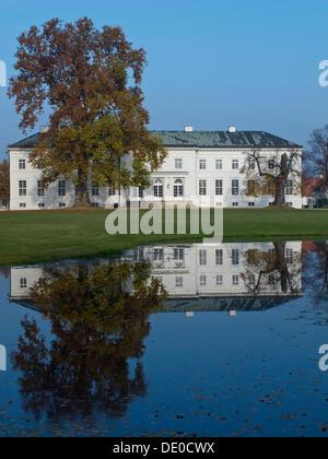 Neuhardenberg castle, classicistic palace designed by Schinkel, garden front, Oderbruch, Maerkisch-Oderland, Brandenburg