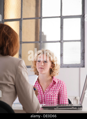 Trainee during an interview with a personnel manager - Stock Photo