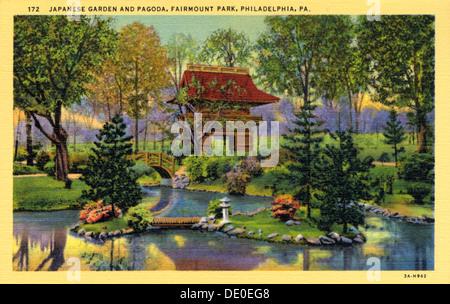 ... Japanese Garden And Pagoda, Fairmont Park, Philadelphia, Pennsylvania,  USA, 1933.