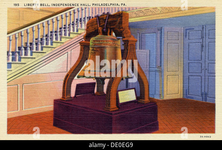 Liberty Bell, Independence Hall, Philadelphia, Pennsylvania, USA, 1933. - Stock Photo