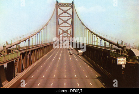Delaware River Bridge connecting Pennsylvania and New Jersey, USA, 1953. - Stock Photo