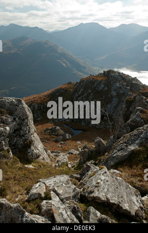 Luinne Bheinn and Glen Barrisdale, Knoydart, over Loch Hourn, from the Druim Fada ridge, Highland region, Scotland, - Stock Photo