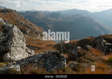The mountains of Knoydart over Loch Hourn, from the Druim Fada ridge, Highland region, Scotland, UK - Stock Photo