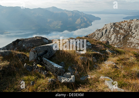 Beinn na Caillich and the peaks of Knoydart over Loch Hourn, from the ridge of Druim Fada, Highland region, Scotland, - Stock Photo