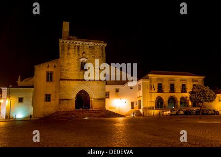 Igreja da Sé cathedral at night, Old Town, Faro, Algarve, Portugal, Europe - Stock Photo