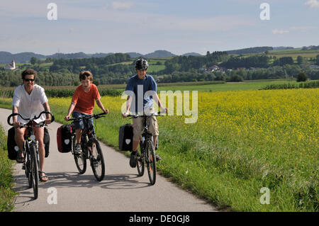 Three cyclists, mother with two children, 13 and 15 years, on the Danube cycle trail Passau - Vienna near Wallsee, - Stock Photo