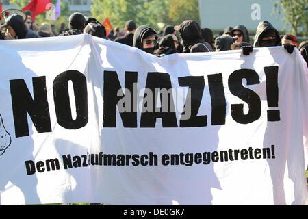 Protest demonstration against a neo-Nazi march in Dortmund, North Rhine-Westphalia - Stock Photo