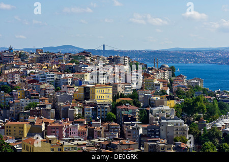 View over the rooftops of Besiktas and Beyoglu towards the Bosphorus, as seen from the Galata Tower, Kuelesi, Istanbul, - Stock Photo