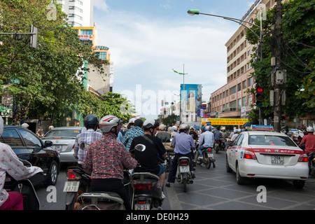 Traffic jam in Hanoi downtown, Hanoi Vietnam - Stock Photo