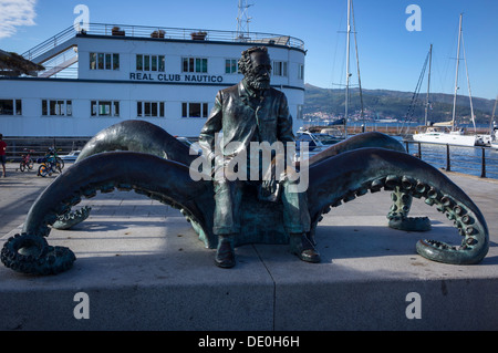 Sculpture tribute to Jules Verne, which mentions the city of Vigo in his book Twenty Thousand Leagues Under the - Stock Photo