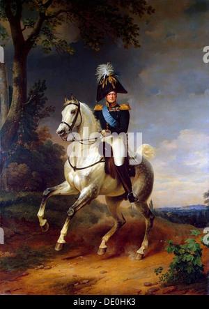 'Equestrian Portrait of Emperor Alexander I', (1777-1825), 1837.  Artist: Franz Kruguer - Stock Photo