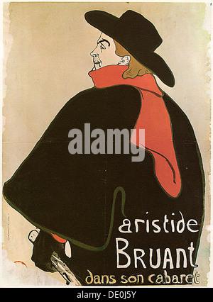 'Aristide Bruant in His Cabaret', (Poster), 1893.  Artist: Henri de Toulouse-Lautrec - Stock Photo
