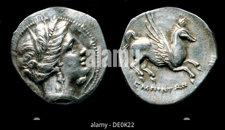 Drachma from Emporion. Obverse: Head of Persephone. Reverse: Pegasus, Third cent. BC. Artist: Numismatic, Ancient - Stock Photo