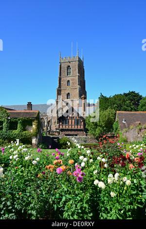 St George's Church from Dream Gardens, Castle Hill, Dunster, Somerset, England, United Kingdom - Stock Photo