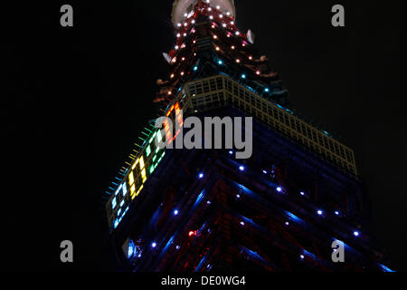 Tokyo, Japan. 09th Sep, 2013. Tokyo Tower has been illuminated with the Olympic colors along with the number 2020 - Stock Photo