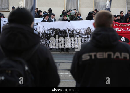 Neo-Nazi march to commemorate the anniversary of the bombing of Magdeburg during the 2nd World War - Stock Photo