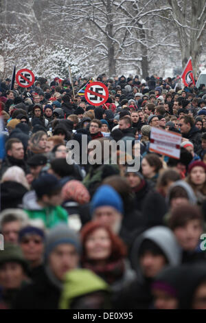 Protest against a neo-Nazi march, demonstration against right-wing extremism and historical revisionism - Stock Photo