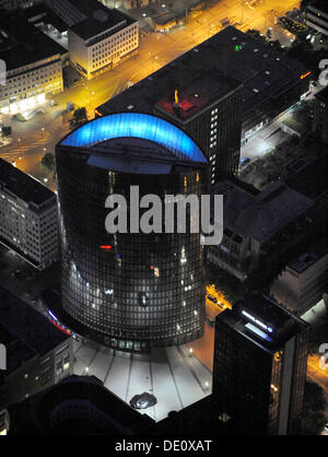 Aerial photo, RWE Tower, downtown Dortmund with city hall, central train station, Dortmund, Extraschicht 2009 cultural - Stock Photo