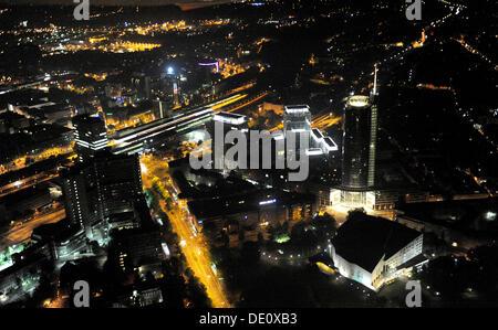 Aerial photo, RWE Tower Evonik City South, Aalto Theatre, Central Railway Station, Essen, Ruhr Extraschicht 2009 - Stock Photo