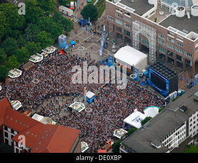 Aerial picture, public screening, Football World Cup 2010, the match Germany vs Australia 4-0, Friedensplatz square, - Stock Photo