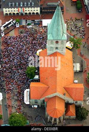 Aerial picture, public screening, Football World Cup 2010, the match Germany vs Australia 4-0 being shown in front - Stock Photo