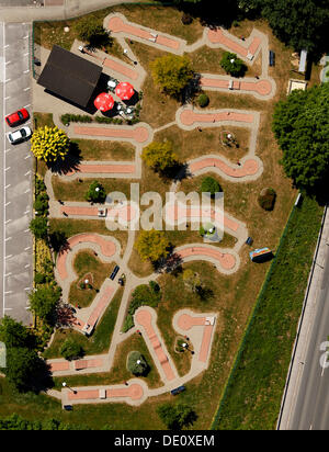 Aerial view, mini golf, Menden, Sauerland, North Rhine-Westphalia - Stock Photo