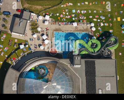Aerial view, outdoor swimming pool, Oberhausen, North Rhine-Westphalia - Stock Photo