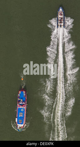 Aerial view, boats on the Datteln-Hamm Canal, Bergkamen, Ruhr area, North Rhine-Westphalia - Stock Photo