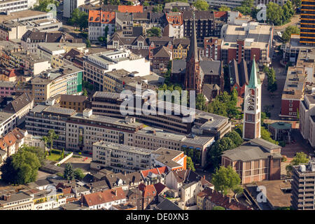 Aerial view, solar panels on the Sparkasse building, Gelsenkirchen, Ruhr area, North Rhine-Westphalia - Stock Photo