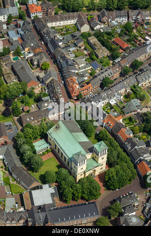 Aerial view, town centre, old town, with Catholic Church, town of Rees, Lower Rhine region, North Rhine-Westphalia - Stock Photo