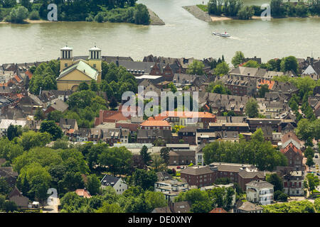 Aerial view, Rhine with town centre, old town with Catholic Church, Rees, Lower Rhine region, North Rhine-Westphalia - Stock Photo