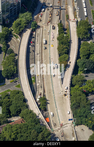 Aerial view, construction site of the A40 motorway, inner city, full closure, Essen, Ruhr area, North Rhine-Westphalia - Stock Photo