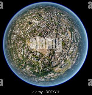Aerial view shot with a fisheye lens, Gruene Mitte, Essen, Ruhr region, North Rhine-Westphalia - Stock Photo