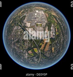Aerial view, fisheye shot, Opel car plant, Opelwerk 1, General Motors, manufacturing halls, Bochum, Ruhr Area - Stock Photo