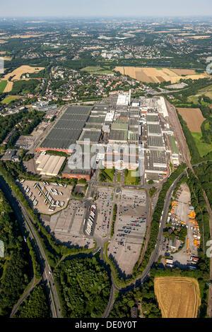 Aerial view, Opel car plant, Opelwerk 1, General Motors, manufacturing halls, Bochum, Ruhr Area, North Rhine-Westphalia - Stock Photo