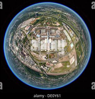 Aerial view, shot with a fisheye lens, Centro, Neue Mitte, Oberhausen, Ruhr region, North Rhine-Westphalia - Stock Photo