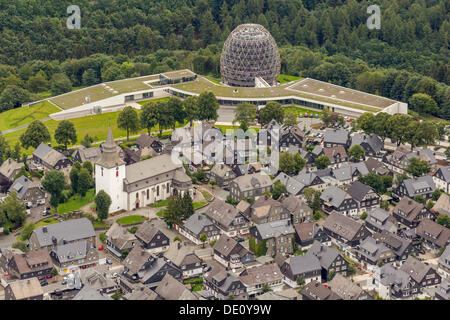 Aerial view, historic district, city centre, Parish Church of St. Jakobus, Winterberg, Sauerland region, North Rhine - Stock Photo