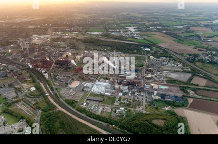 Aerial view, Bayer Uerdingen, Duisburger Strasse street, Krefeld, Rhineland region, North Rhine-Westphalia - Stock Photo
