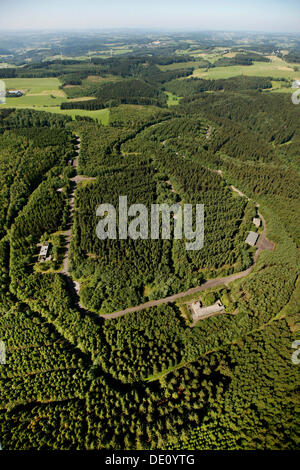 Aerial view, former barracks, proposed site for a forensic institute, Reichshof, Oberbergisches Land region - Stock Photo