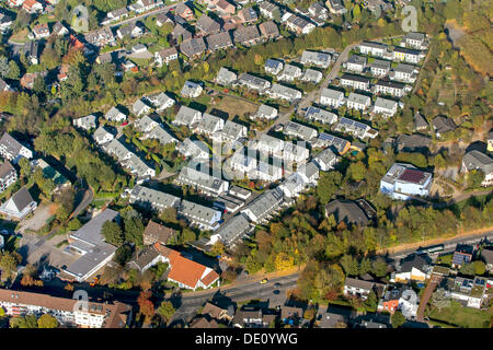 Aerial view of the new Am Stenshof housing estate, with solar panels on the roofs, Wattenscheid, Bochum, Ruhr area - Stock Photo