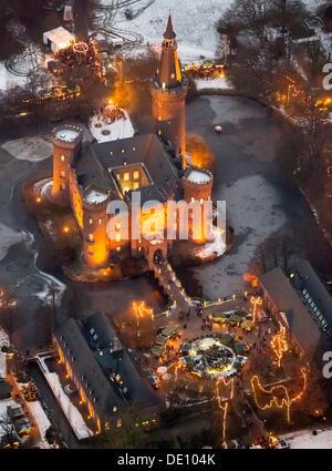 Aerial view, Moyland, Christmas market, Bedburg-Hau, Lower Rhine, North Rhine-Westphalia Stock Photo