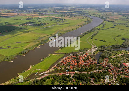 Aerial view, old town of Hitzacker with tributary streams Jeetzel and Altjeetzel, Elbe River - Stock Photo