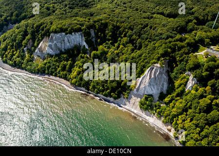 Aerial view, chalk cliffs, Grosse Stubbenkammer, Kleine Stubbenkammer, Koenigsstuhl - Stock Photo