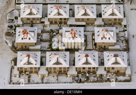 Aerial view, semi-detached housing, residential estate of Florenzer Weg - Stock Photo